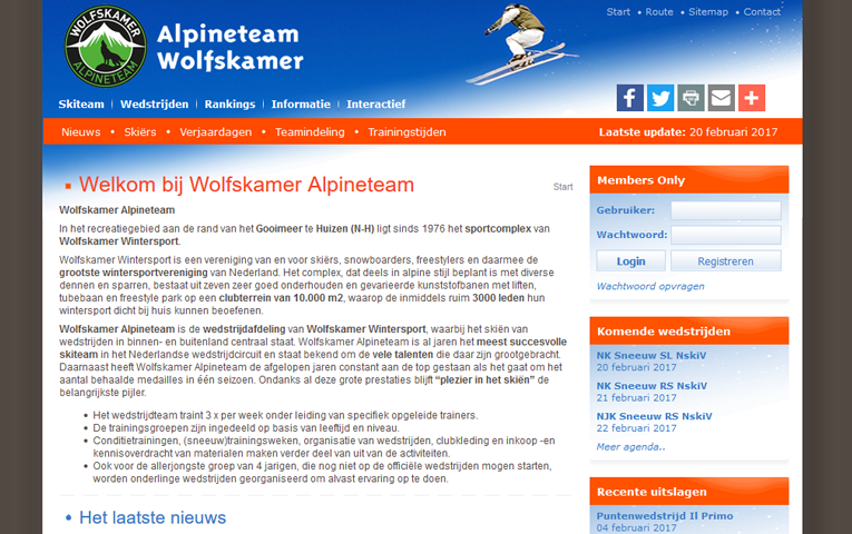 Alpineteam Wolfskamer - Custom website voor sportvereniging
